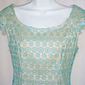 Adrianna Papell Blue Embroidered Lace Dress Sz 2